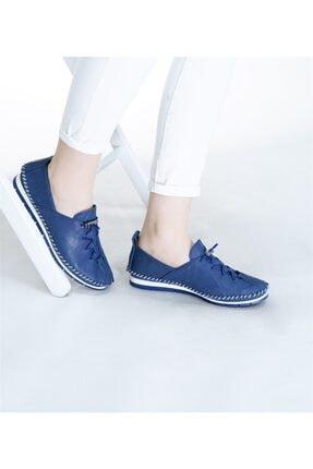 RİKEL DERİ Kadın   Hakiki Deri Ayakkabı  Lacivert