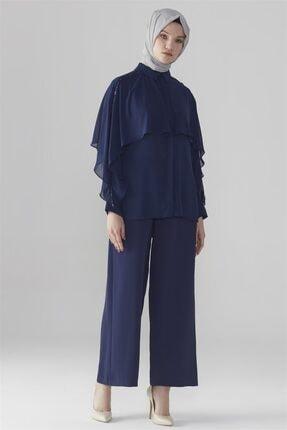 Zühre Kadın Broş Detaylı Gömlek Lacivert G-0031