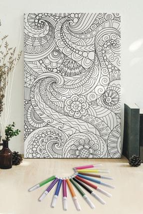 Hediyeler Kapında 50x70 Desenler Boyanabilir Kanvas Mandala Tuval + 12'li Keçeli Kalem
