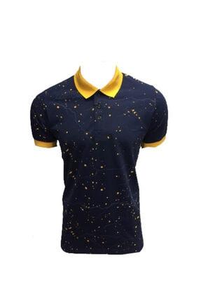 Lion Erkek  Polo Yaka  T-shirt 2521 Indigo Pike Dokuma Baskılı