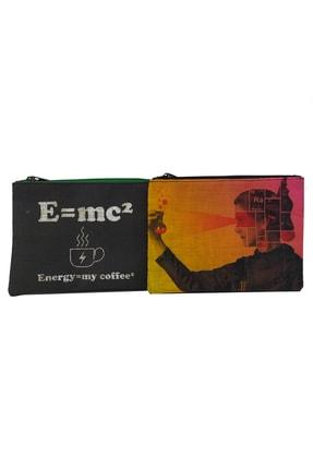 MODAZEY Curie & Einstein Desenli Düzenleyici & Makyaj Çantası Seti