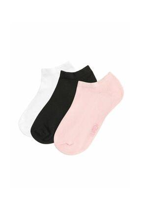 SUWEN 3 lü Paket Kadın Çorabı  - Siyah Beyaz Pembe