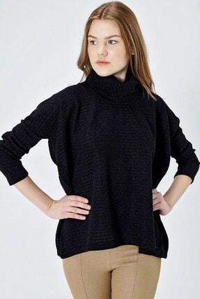 Jument Kadın Siyah Degaje Yaka Salaş Bluz 6355