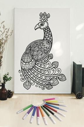 Hediyeler Kapında 50x70 Tavus Kuşu Boyanabilir Kanvas Mandala Tuval + 12'li Keçeli Kalem