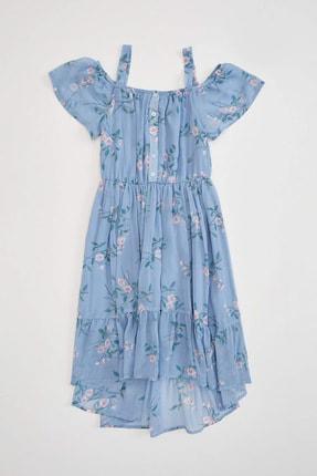 DeFacto Kız Çocuk Fırfır Detaylı Baskılı Dokuma Elbise