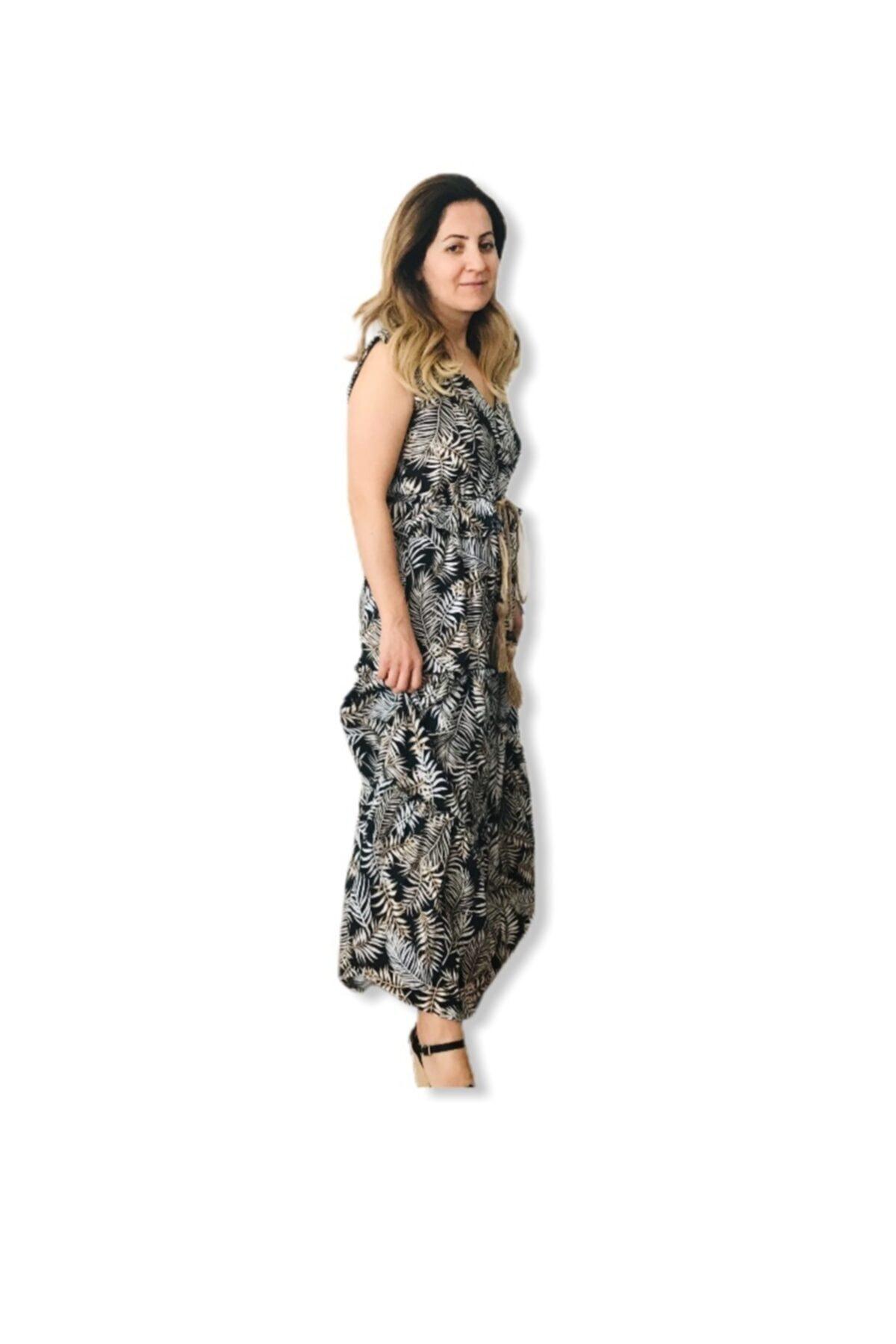 asudincer boutique Kadın Siyah Yaprak Desenli Kendinden Kemerli Elbise 2