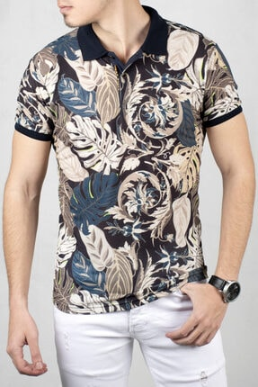 DeepSEA Bej Polo Yaka Kısa Kol T-Shirt 2000105