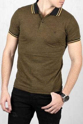 DeepSEA Erkek Siyah Camel Polo Yaka Desenli Düğme Detaylı Slim Fit Tişört 2000114