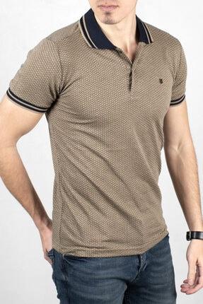 DeepSEA Erkek Bej Lacivert Polo Yaka Desenli Düğme Detaylı Slim Fit Tişört 2000114