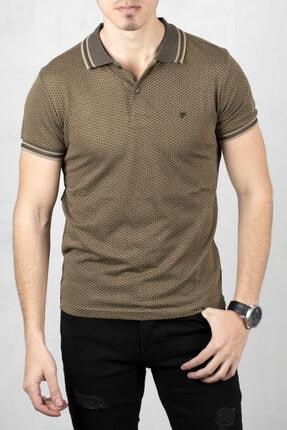 DeepSEA Erkek Haki Bej Polo Yaka Desenli Düğme Detaylı Slim Fit Tişört 2000114