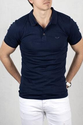 DeepSEA Lacivert Erkek Düğmeli Polo Yaka Kısa Kol T-shirt