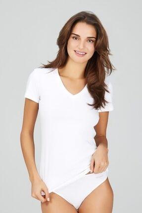 Kom Basic V Yaka Likralı Pamuklu-modal T-shirt
