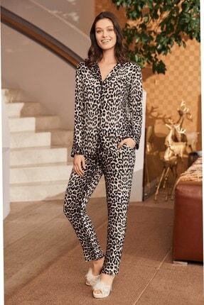 Mecit Pijama 5254 Leopar Desenli Kısa Kol Pijama Takımı