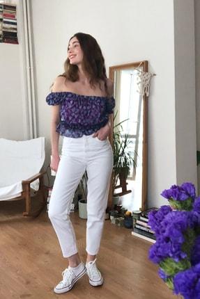 TRENDYOLMİLLA Beyaz Yüksek Bel Mom Jeans TWOSS20JE0414