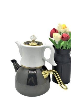 Dufy Verda Emaye Porselen Çaydanlık 2,3 litre Siyah
