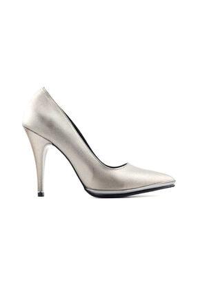 PUNTO 460070 Kadın Topuklu Ayakkabı-Platin