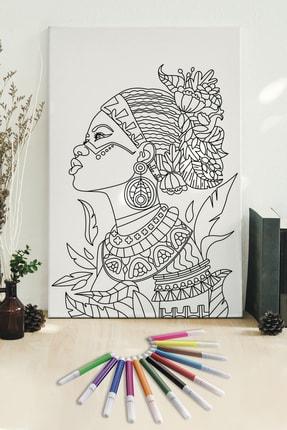 Hediyeler Kapında 50x70 Kızılderili Boyanabilir Kanvas Mandala Tuval + 12'li Keçeli Kalem