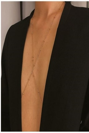 HUBAN Kararmaz Kadın Mini Top Boncuklu Stylish Vücut Zinciri, Bel Zinciri, Vücut Aksesuarı - Gold