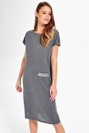İKİLER Kadın Kolları Apoletli Taşlı Sim Şerit Cepli Elbise