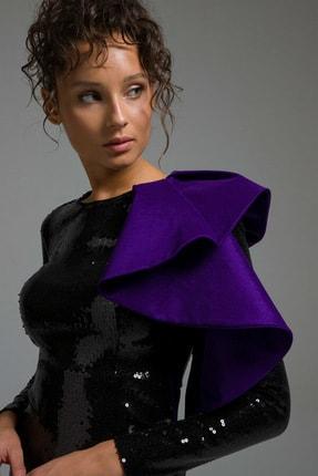 adL Kadın Siyah Tek Omuzlu Volanlı Payet Elbise 12437863000001