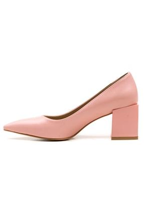Ataköy Ayakkabı Kadın Pu Pudra Kalın Topuklu Sivri Burun Ayakkabı