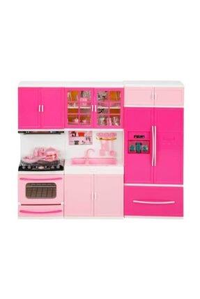 little chef Sesli ve Işıklı 3'lü Mutfak Seti Pembe - Açık Pembe Lavabo-Buzdolabı