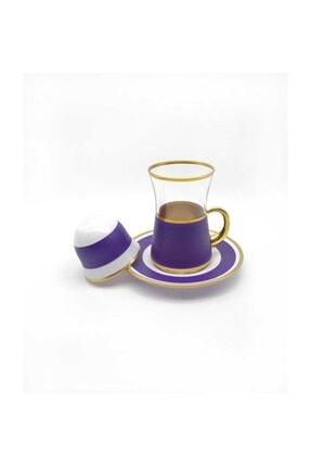 ÖzcamKristal 18 Parça 6 Kişilik Renkli Çay Takımı