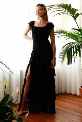TRENDYOLMİLLA Siyah Fırfır Detaylı  Abiye & Mezuniyet Elbisesi TPRSS20AE0224