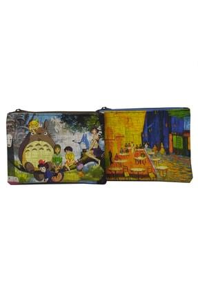 MODAZEY Totoro & Gogh Desenli Düzenleyici & Makyaj Çantası Seti