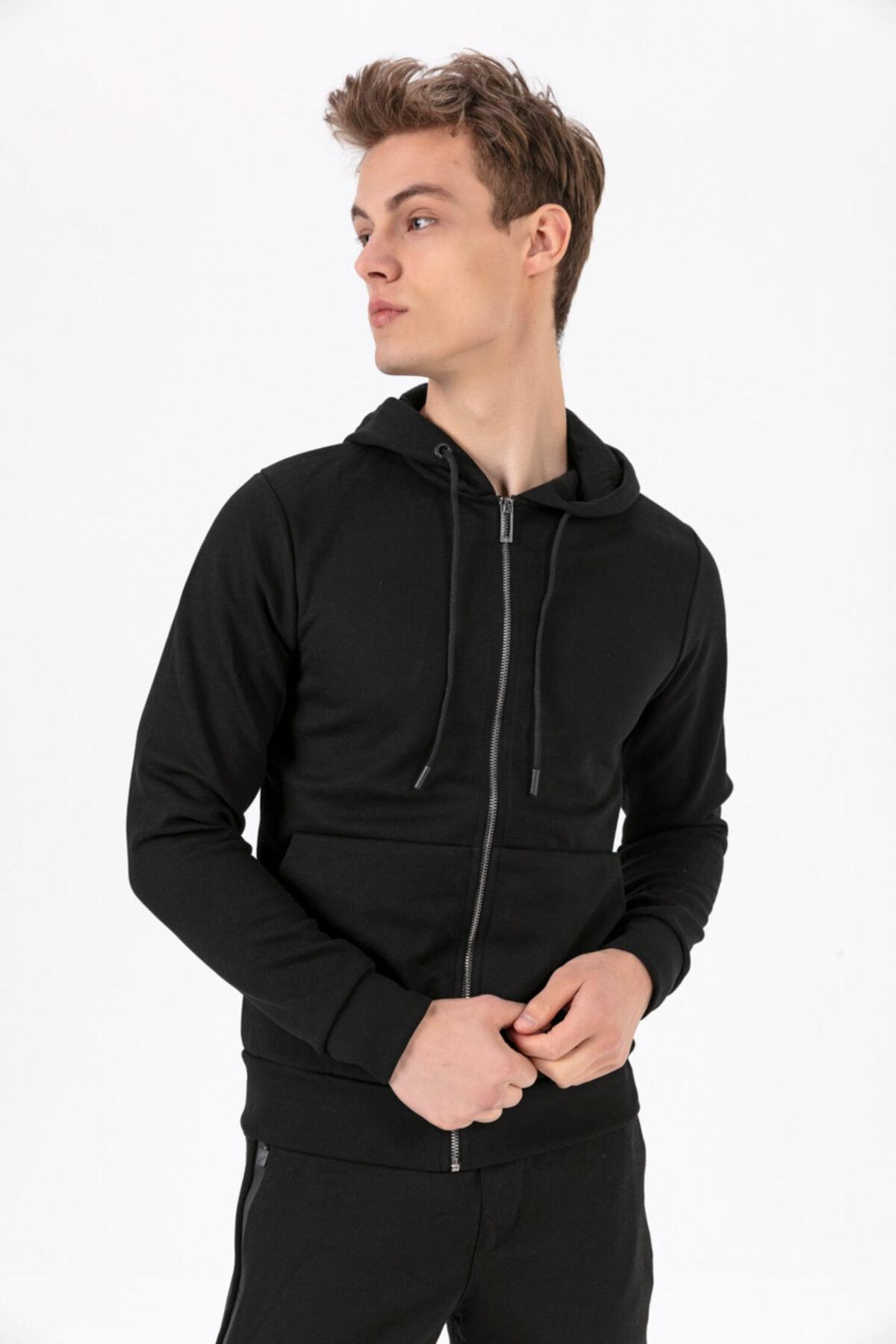 Fabregas 9532 Siyah Fermuarlı Kapşonlu Sweatshirt 1