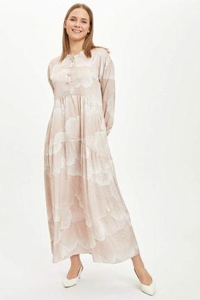 DeFacto Düğme Detaylı Dokuma Elbise