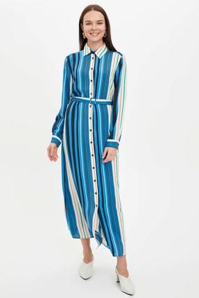 DeFacto Çizgi Detaylı Kemerli Dokuma Elbise