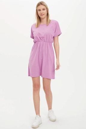 DeFacto Kadın Mor Beli Büzgülü Slim Fit Elbise K9988AZ.20SM.PR251