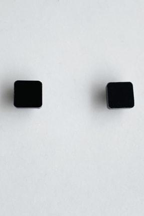 TAKIŞTIR Siyah Renk Kare Figürlü Küçük Boy Mıknatıslı Küpe