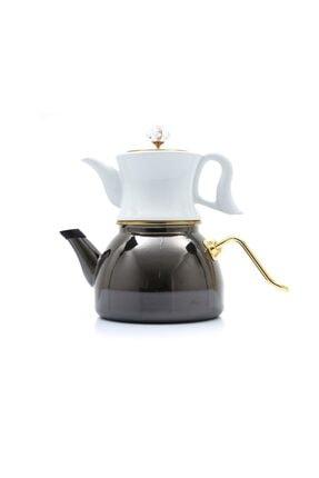 Dufy Emaye Porselen Çaydanlık Seti -siyah
