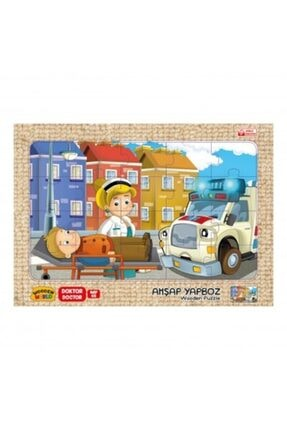 Wooden Toys Doktor Temalı Ahşap 3mm Mdf Puzzle 20 Parça  20 Cm * 30 Cm