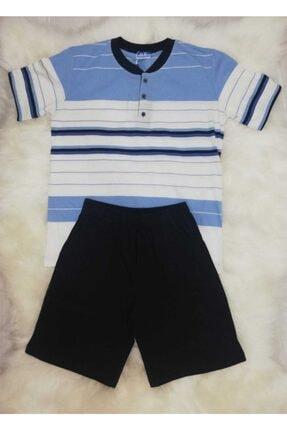 Haluk Bayram Çizgili Şortlu Erkek Pijama Takımı Baha 2361