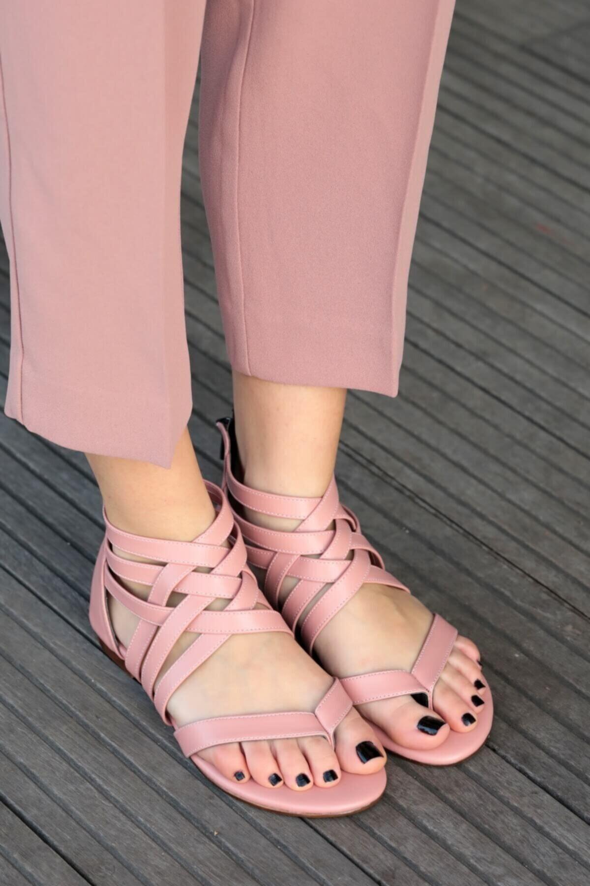 Mio Gusto Kadın Linda Pudra Kafesli Sandalet 1