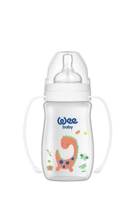 Wee Baby Klasik Plus Geniş Ağızlı Kulplu Pp Biberon 250 ml - Beyaz Dinozor