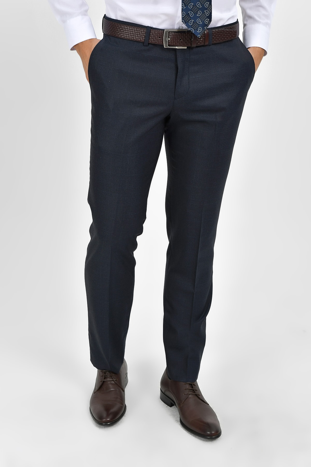 Hatemoğlu Lacivert  Kareli Slim Fit Pantolon 29242019A004 1