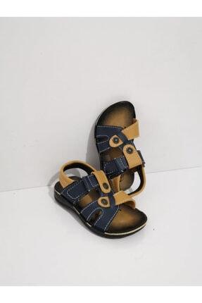 GEZER Ortopedik Cırtlı Erkek Çoçuk Sandalet Taba Lacivert
