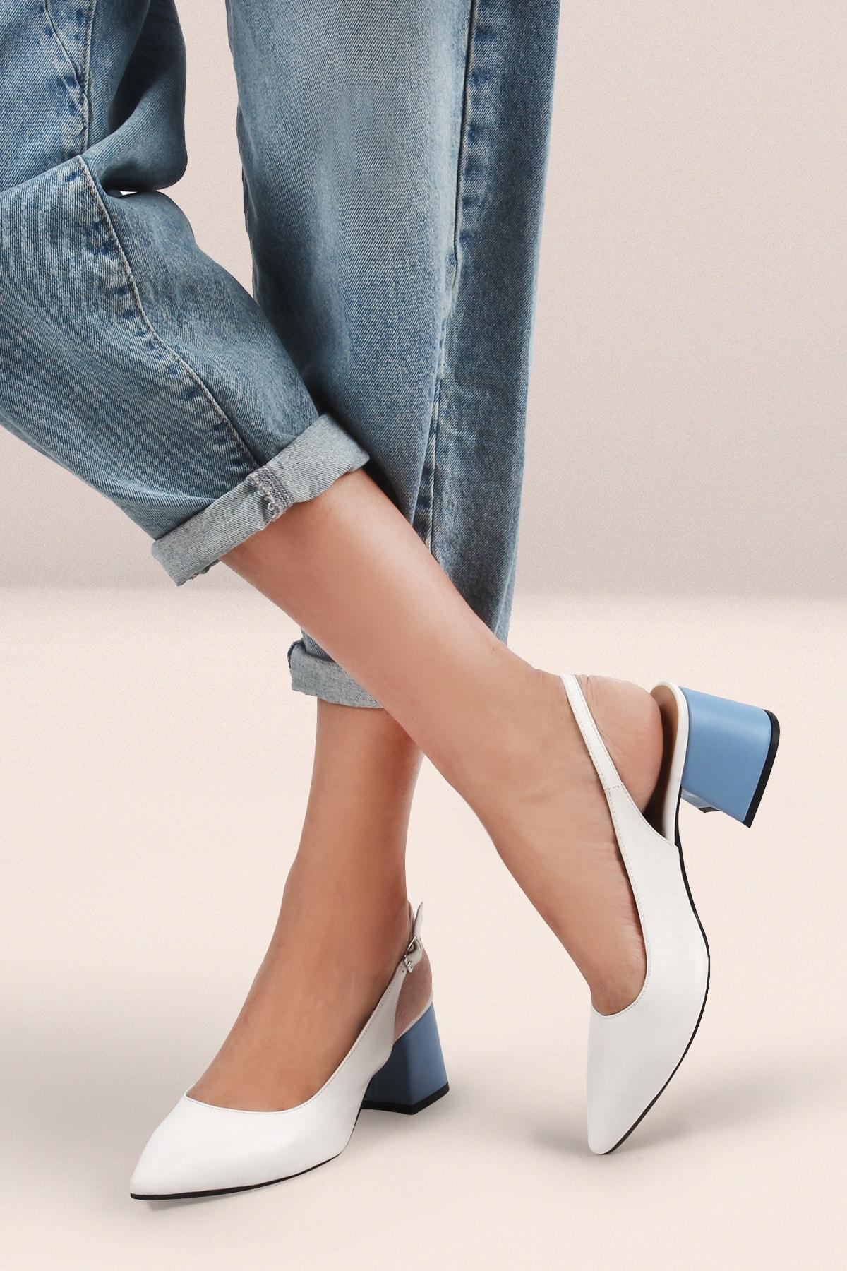 Gökhan Talay Beyaz Kadın Topuklu Arkası Açık Ayakkabı 1