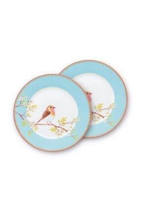 Pip Studio Mavi Kuşlu Ikili Floral Tabak 21 cm