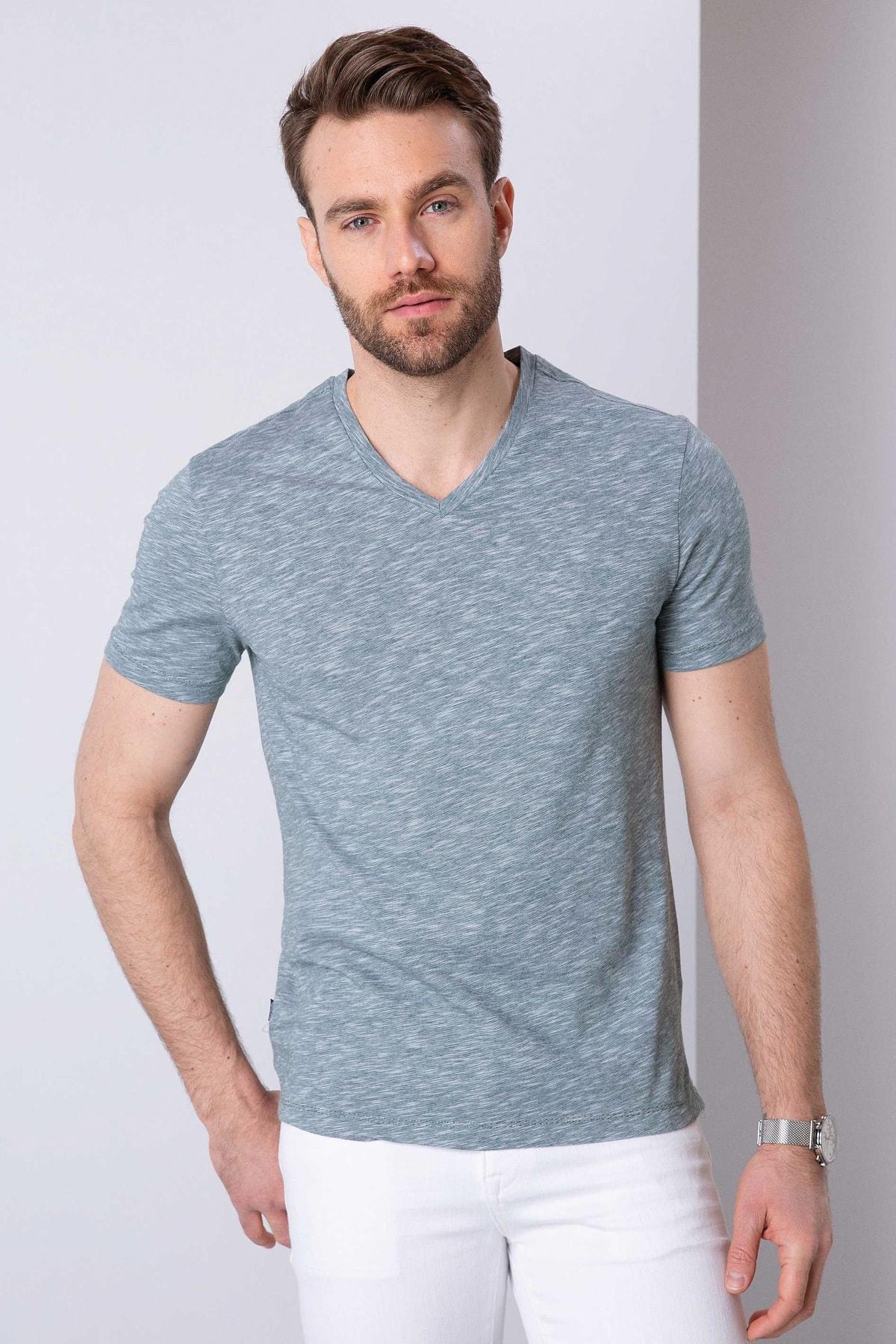 Pierre Cardin Erkek Koyu Yeşil Slim Fit T-Shirt 1