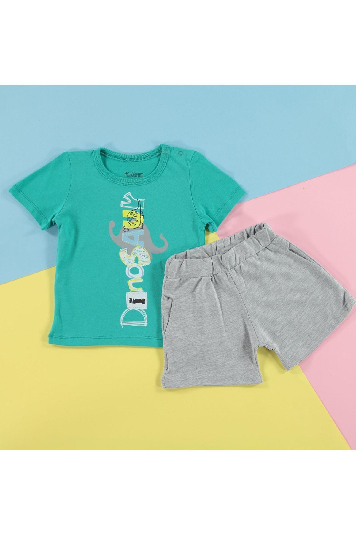 HelloBaby Yaz Erkek Bebek Küçük Dinozor Tema Tshirt-Şort Takım 1