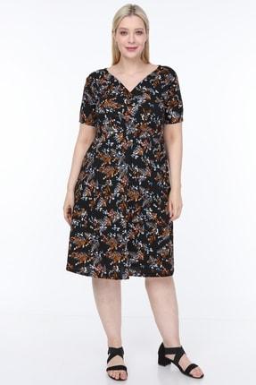 Alesia Kadın Çiçek Desenli Kruvaze Yaka Elbise