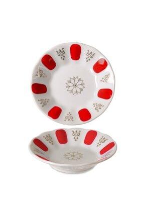 İpek Porselen Kahveci Çay Tabağı Kırmızı 12 Li Ct10