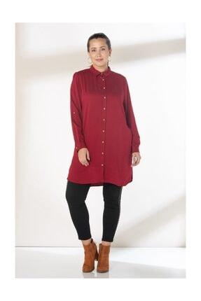 RMG Kadın Bordo Viskon Gömlek 6877
