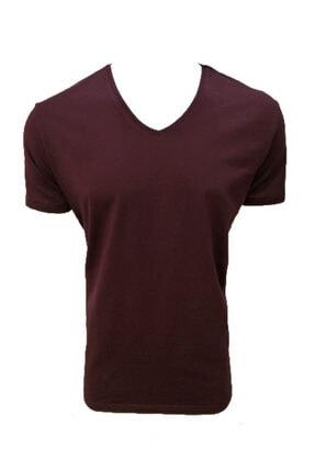 Lion V Yaka Süprem Likralı Basic Erkek T-shirt  Bordo   2801