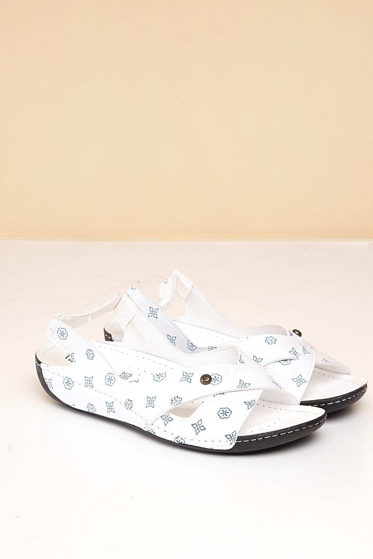 Pierre Cardin PC-1361 Beyaz-Lacivert Kadın Sandalet 1